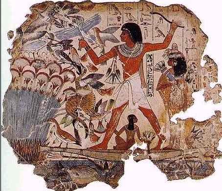 Охотничья сценка с кошкой, найденная в фиванской гробнице. 18-ая династия, 1450 г. до н. э.